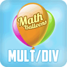 Play Math Balloons Multiplication Division